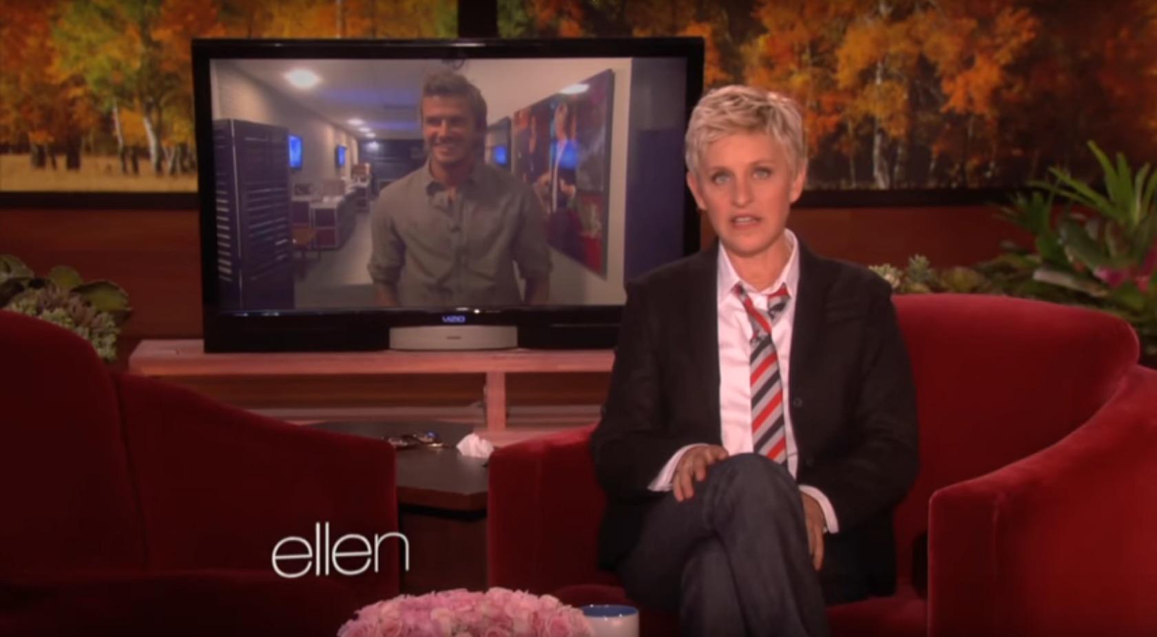 Ellen DeGeneres and David Beckham