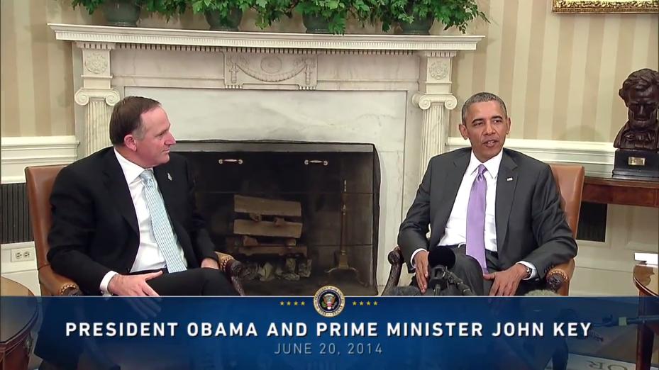 accents anglais - le Premier ministre néo-zélandais John Key avec Obama